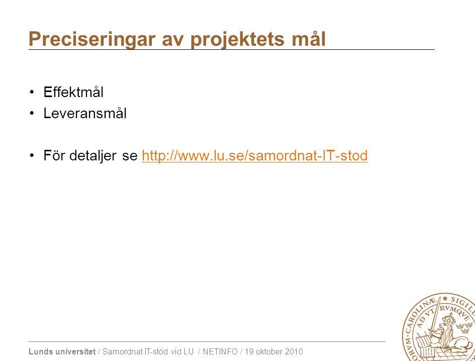 Lunds universitet / Samordnat IT-stöd vid LU / NETINFO / 19 oktober 2010 Effektmål Leveransmål För detaljer se http://www.lu.se/samordnat-IT-stodhttp://www.lu.se/samordnat-IT-stod Preciseringar av projektets mål
