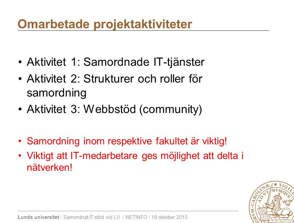 Lunds universitet / Samordnat IT-stöd vid LU / NETINFO / 19 oktober 2010 Aktivitet 1: Samordnade IT-tjänster Aktivitet 2: Strukturer och roller för samordning Aktivitet 3: Webbstöd (community) Samordning inom respektive fakultet är viktig.