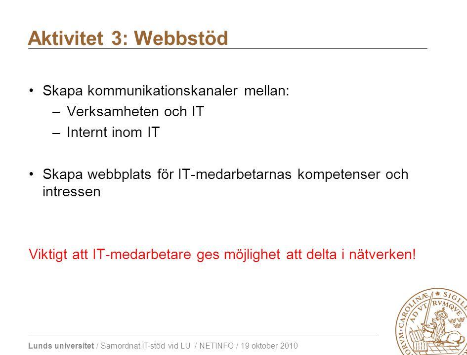 Lunds universitet / Samordnat IT-stöd vid LU / NETINFO / 19 oktober 2010 Skapa kommunikationskanaler mellan: –Verksamheten och IT –Internt inom IT Skapa webbplats för IT-medarbetarnas kompetenser och intressen Viktigt att IT-medarbetare ges möjlighet att delta i nätverken.