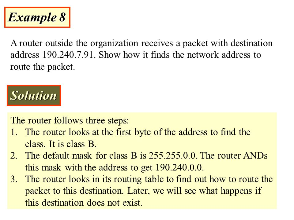 Example 8 A router outside the organization receives a packet with destination address 190.240.7.91. Show how it finds the network address to route th