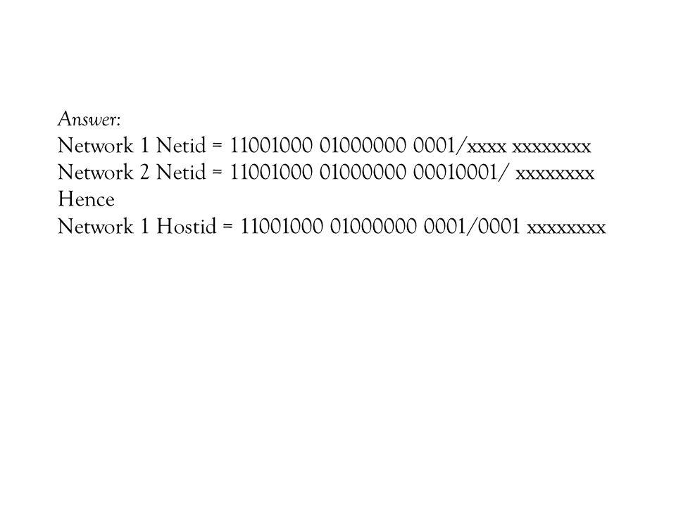 Answer: Network 1 Netid = 11001000 01000000 0001/xxxx xxxxxxxx Network 2 Netid = 11001000 01000000 00010001/ xxxxxxxx Hence Network 1 Hostid = 11001000 01000000 0001/0001 xxxxxxxx