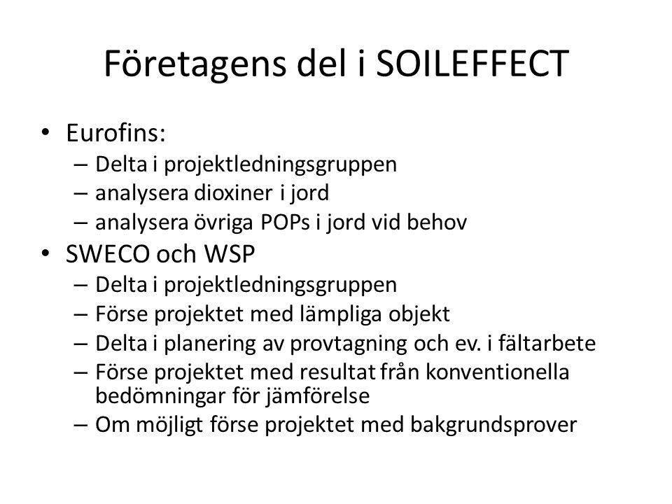 Företagens del i SOILEFFECT Eurofins: – Delta i projektledningsgruppen – analysera dioxiner i jord – analysera övriga POPs i jord vid behov SWECO och WSP – Delta i projektledningsgruppen – Förse projektet med lämpliga objekt – Delta i planering av provtagning och ev.
