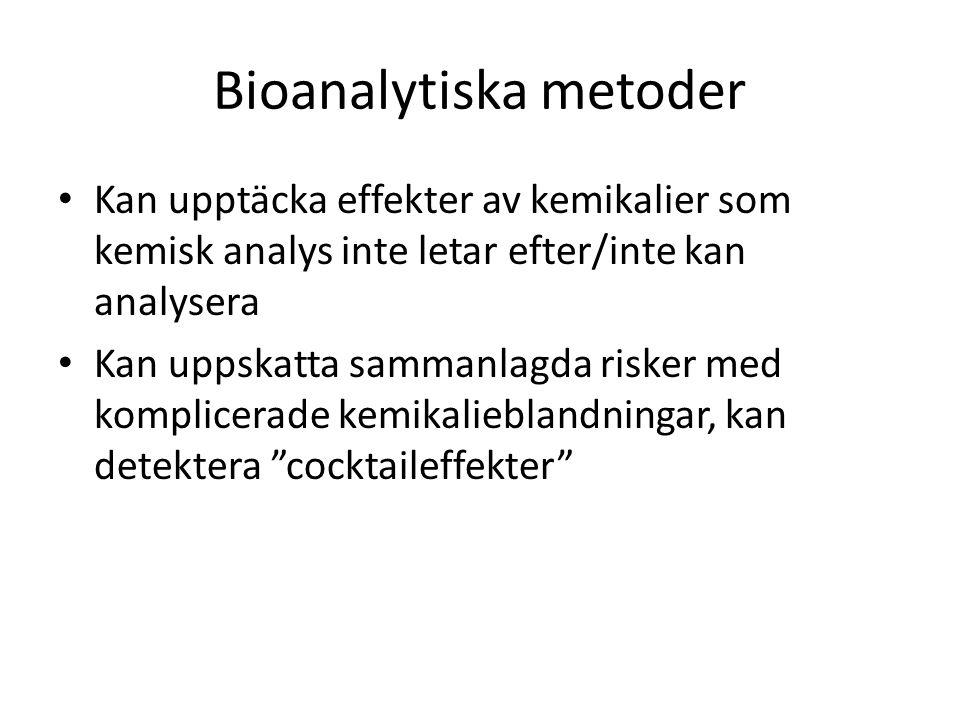 Bioanalytiska metoder Kan upptäcka effekter av kemikalier som kemisk analys inte letar efter/inte kan analysera Kan uppskatta sammanlagda risker med komplicerade kemikalieblandningar, kan detektera cocktaileffekter