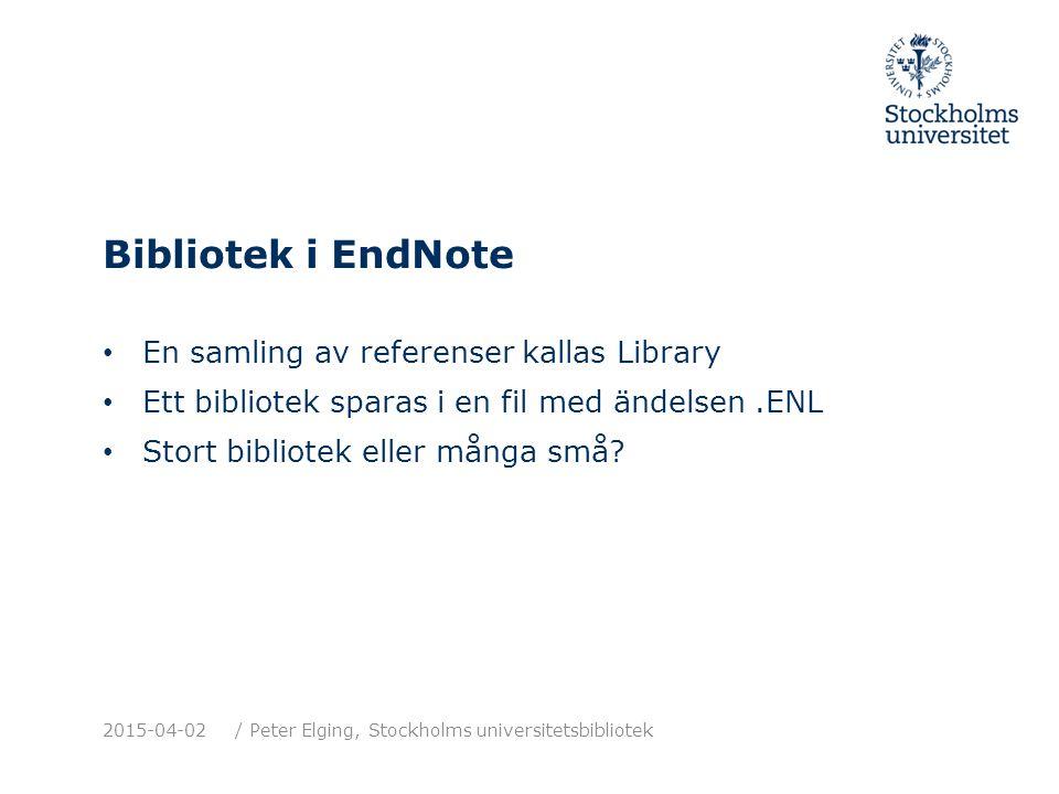 Bibliotek i EndNote En samling av referenser kallas Library Ett bibliotek sparas i en fil med ändelsen.ENL Stort bibliotek eller många små.