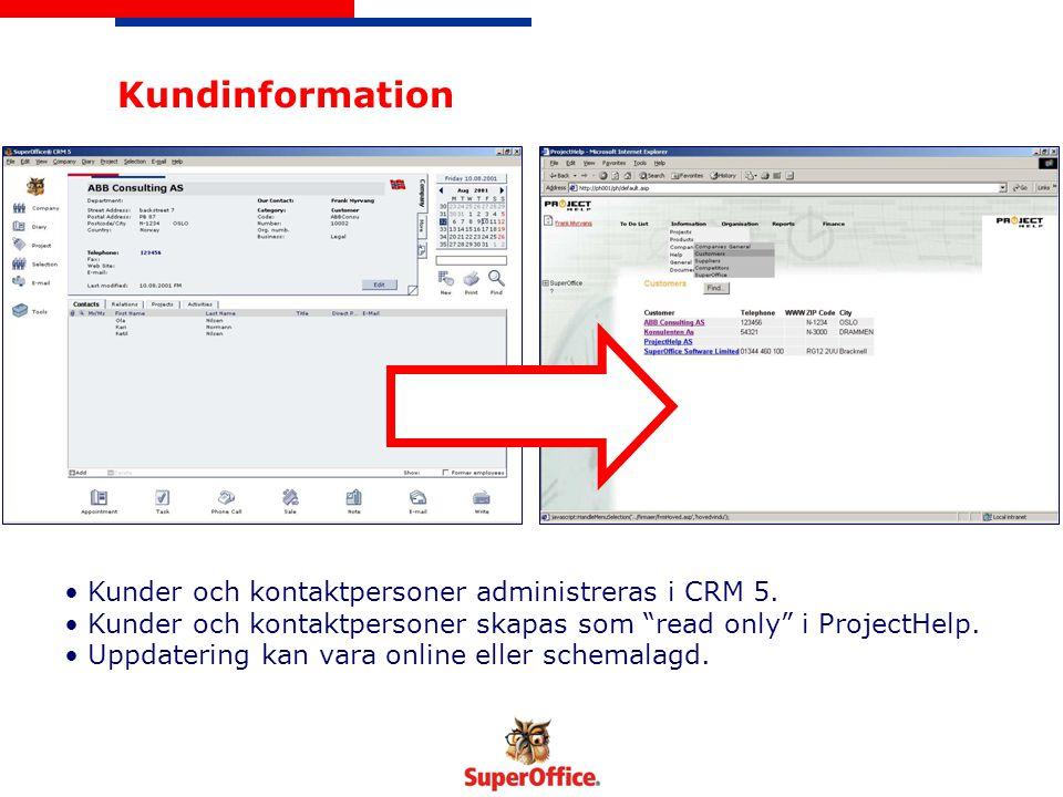 Gemensam dokumenthantering Dokument från CRM 5 kan accessas och läsas även i ProjectHelp.