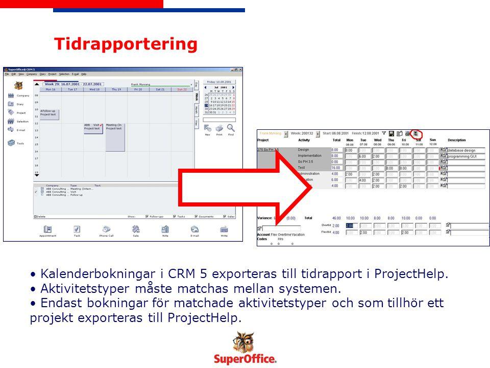 Tidrapportering Kalenderbokningar i CRM 5 exporteras till tidrapport i ProjectHelp.