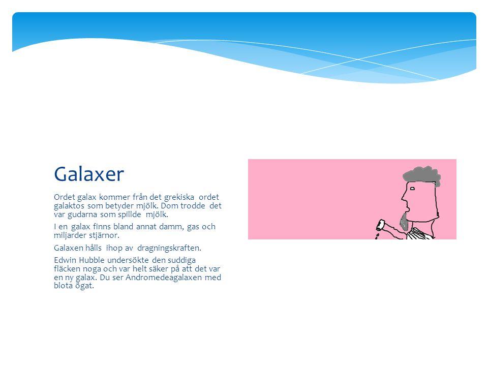 Ordet galax kommer från det grekiska ordet galaktos som betyder mjölk. Dom trodde det var gudarna som spillde mjölk. I en galax finns bland annat damm