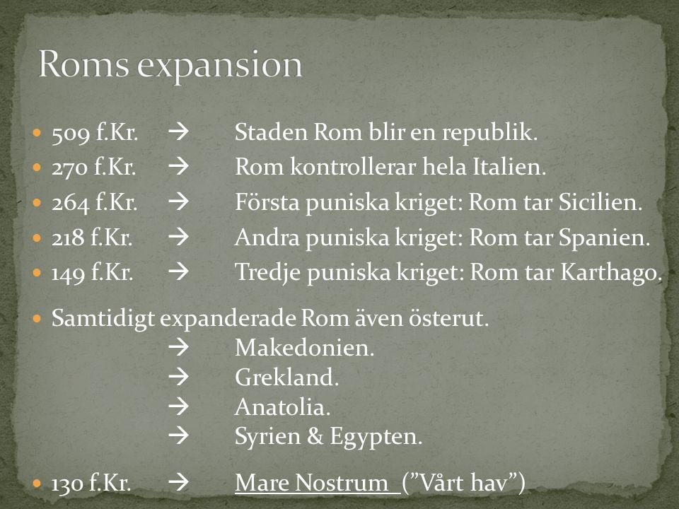509 f.Kr.  Staden Rom blir en republik. 270 f.Kr.  Rom kontrollerar hela Italien. 264 f.Kr.  Första puniska kriget: Rom tar Sicilien. 218 f.Kr.  A