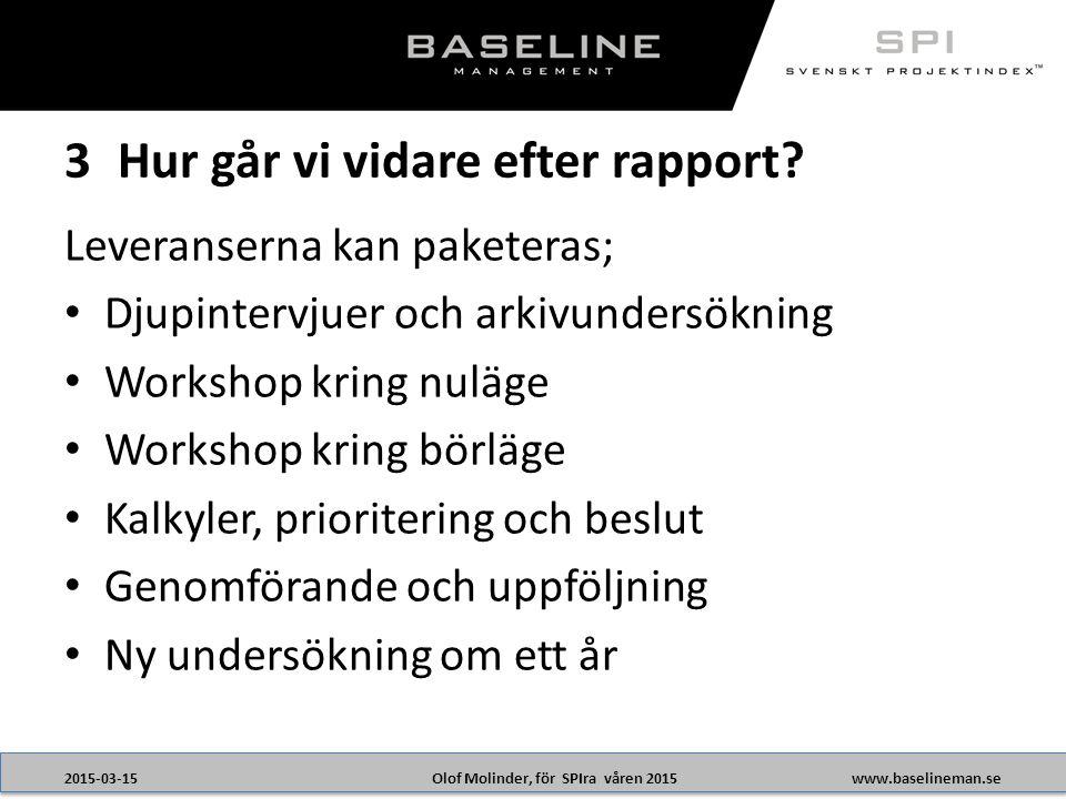Olof Molinder, för SPIra våren 20152015-03-15www.baselineman.se Leveranserna kan paketeras; Djupintervjuer och arkivundersökning Workshop kring nuläge Workshop kring börläge Kalkyler, prioritering och beslut Genomförande och uppföljning Ny undersökning om ett år 3Hur går vi vidare efter rapport?