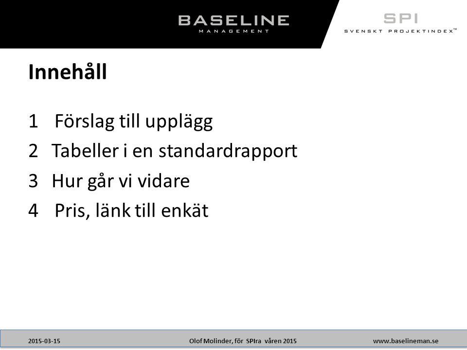 Olof Molinder, för SPIra våren 20152015-03-15www.baselineman.se 1Förslag till upplägg 2Tabeller i en standardrapport 3Hur går vi vidare 4Pris, länk till enkät Innehåll