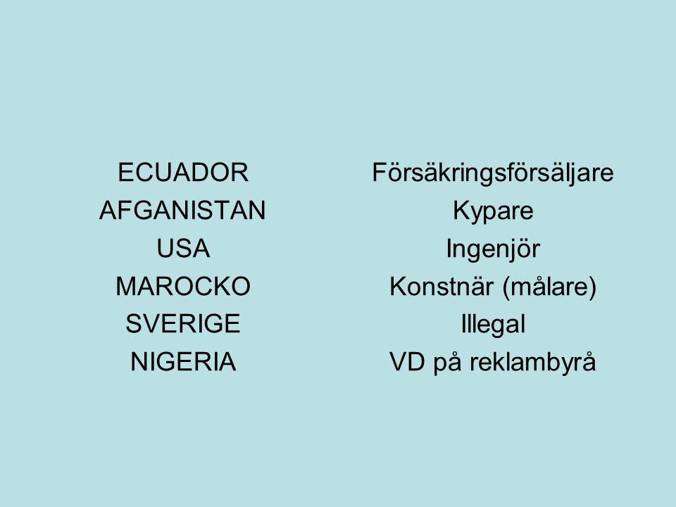 ECUADOR AFGANISTAN USA MAROCKO SVERIGE NIGERIA Försäkringsförsäljare Kypare Ingenjör Konstnär (målare) Illegal VD på reklambyrå