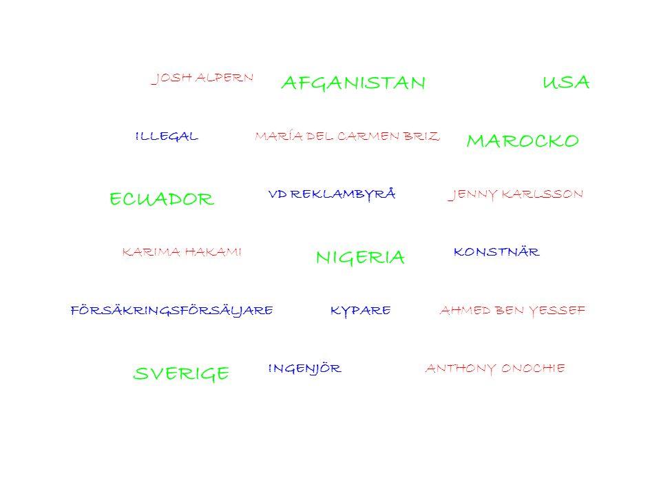 JOSH ALPERN AFGANISTANUSA ILLEGALMARÍA DEL CARMEN BRIZ MAROCKO ECUADOR VD REKLAMBYRÅJENNY KARLSSON KARIMA HAKAMI NIGERIA KONSTNÄR FÖRSÄKRINGSFÖRSÄLJAR