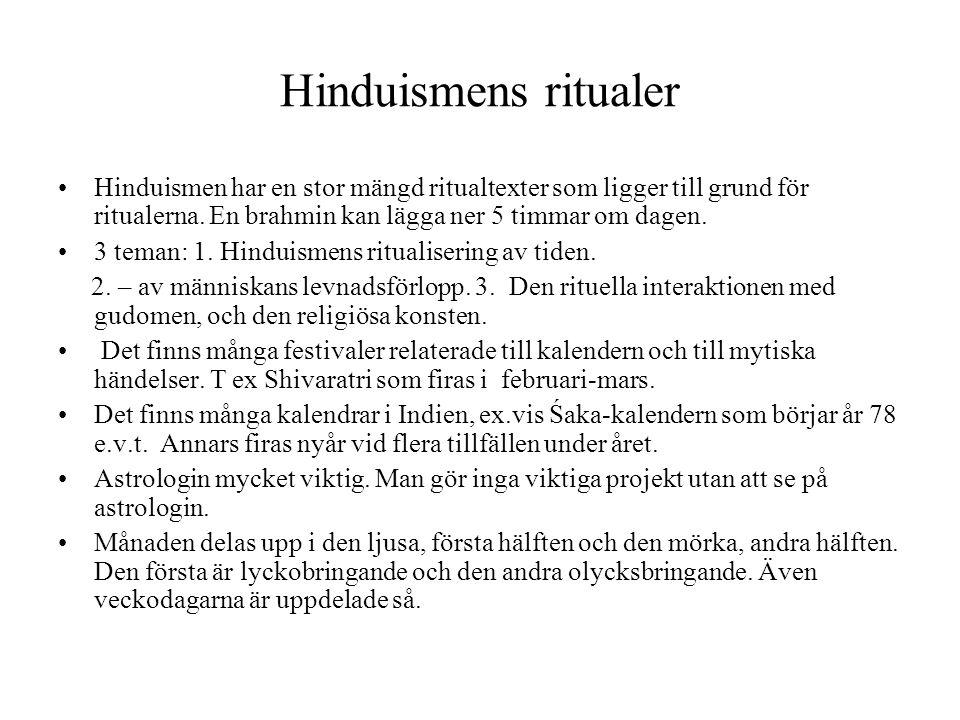 Hinduismens ritualer Hinduismen har en stor mängd ritualtexter som ligger till grund för ritualerna. En brahmin kan lägga ner 5 timmar om dagen. 3 tem