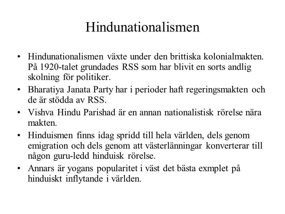Hindunationalismen Hindunationalismen växte under den brittiska kolonialmakten. På 1920-talet grundades RSS som har blivit en sorts andlig skolning fö
