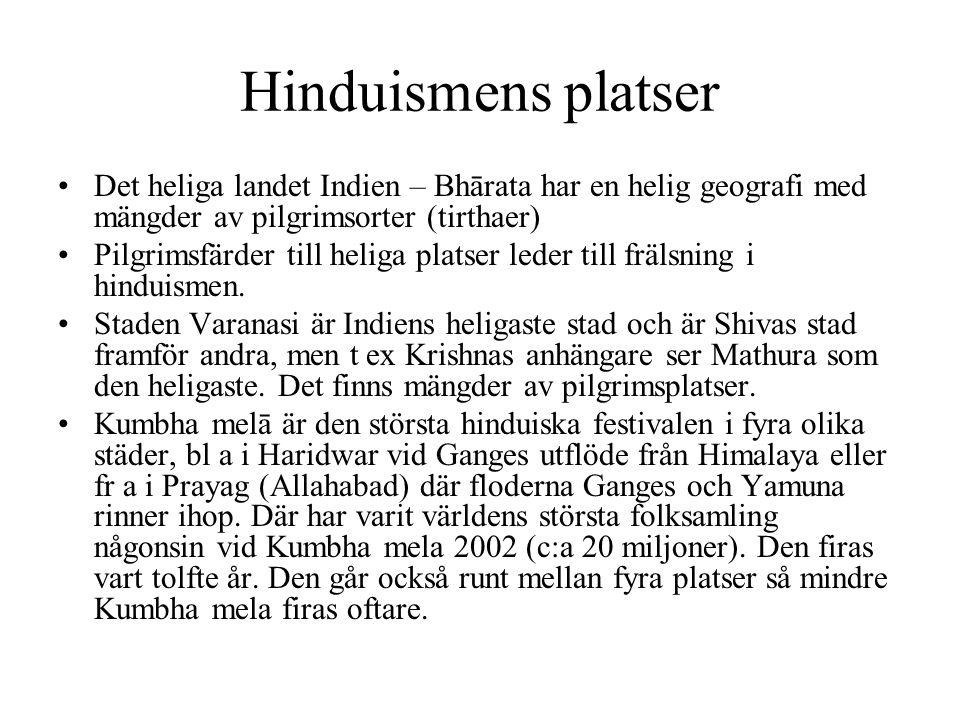 Hinduismens platser Det heliga landet Indien – Bhārata har en helig geografi med mängder av pilgrimsorter (tirthaer) Pilgrimsfärder till heliga platse