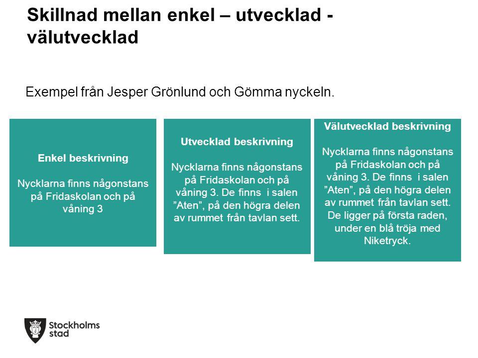 Skillnad mellan enkel – utvecklad - välutvecklad Exempel från Jesper Grönlund och Gömma nyckeln. Enkel beskrivning Nycklarna finns någonstans på Frida