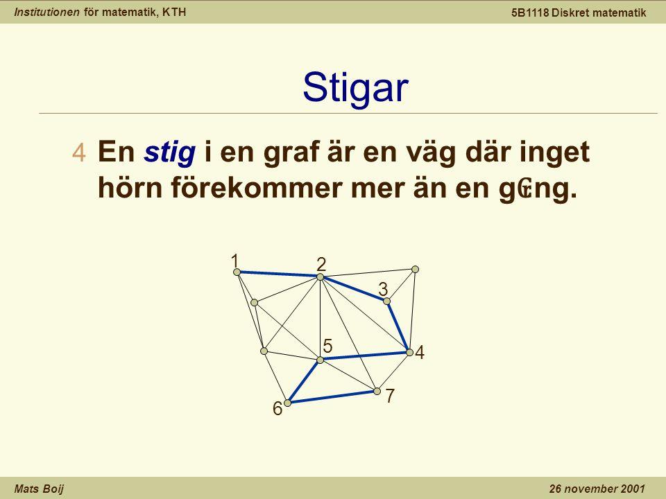 Institutionen för matematik, KTH Mats Boij 5B1118 Diskret matematik 26 november 2001 Stigar 4 En stig i en graf är en väg där inget hörn förekommer mer än en g ₢ ng.