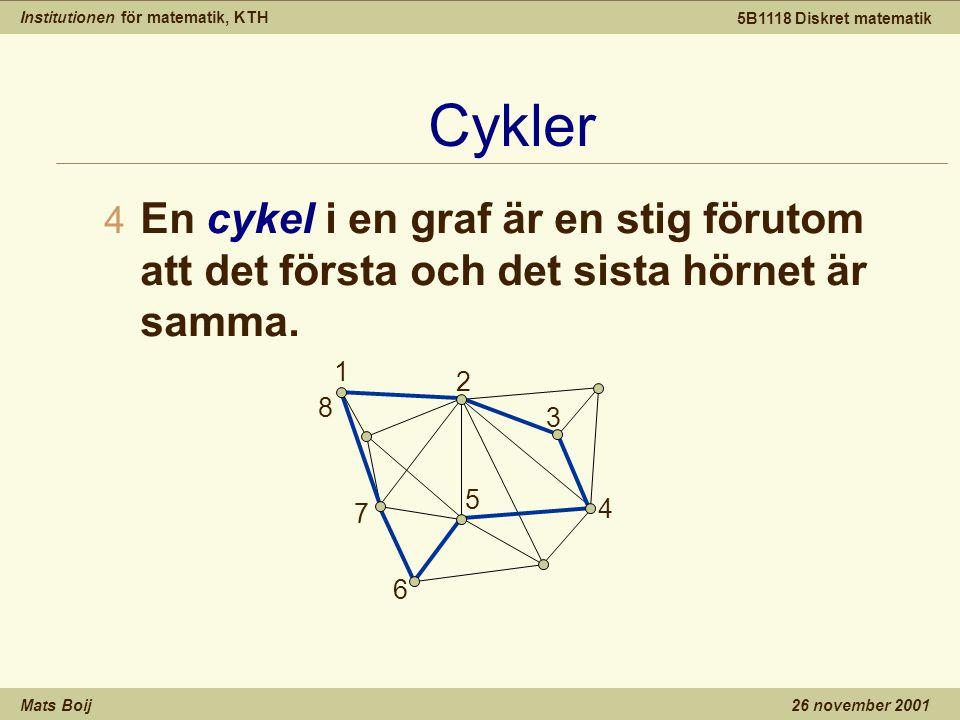 Institutionen för matematik, KTH Mats Boij 5B1118 Diskret matematik 26 november 2001 Cykler 4 En cykel i en graf är en stig förutom att det första och det sista hörnet är samma.