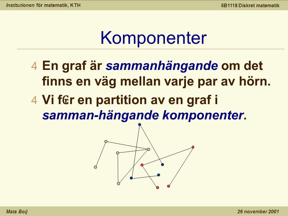 Institutionen för matematik, KTH Mats Boij 5B1118 Diskret matematik 26 november 2001 Komponenter 4 En graf är sammanhängande om det finns en väg mellan varje par av hörn.