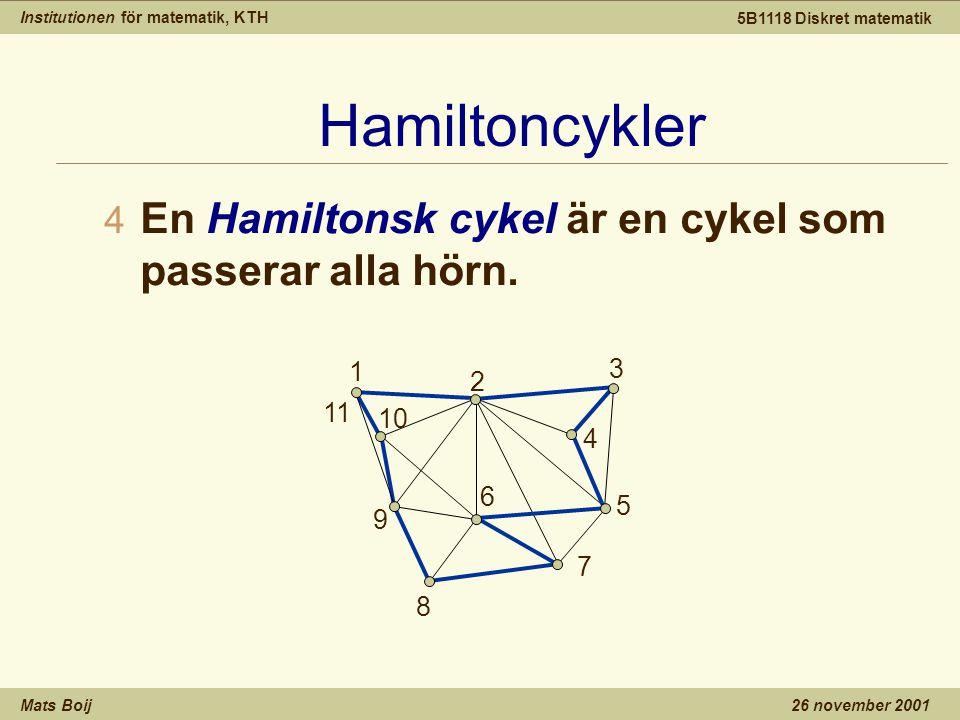 Institutionen för matematik, KTH Mats Boij 5B1118 Diskret matematik 26 november 2001 Hamiltoncykler 4 En Hamiltonsk cykel är en cykel som passerar alla hörn.