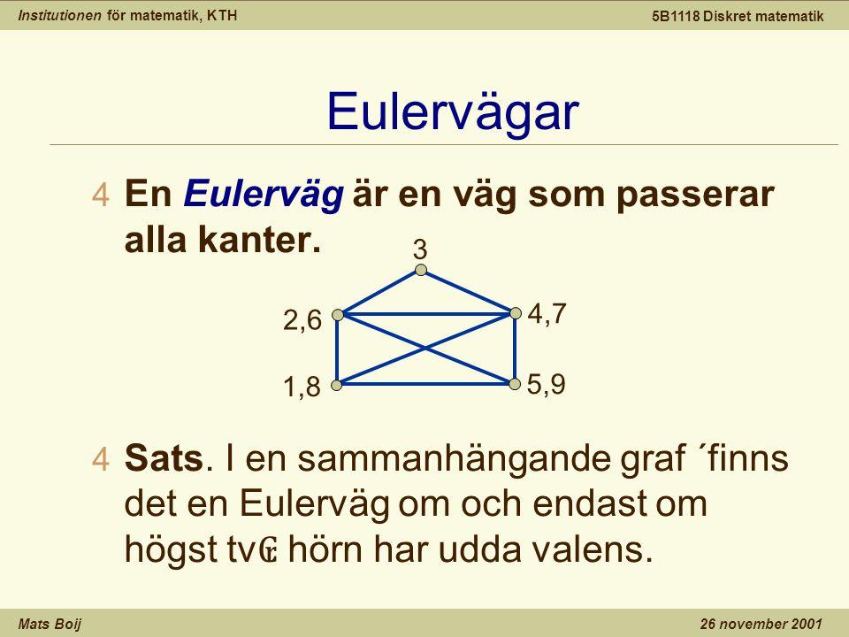 Institutionen för matematik, KTH Mats Boij 5B1118 Diskret matematik 26 november 2001 Eulervägar 4 En Eulerväg är en väg som passerar alla kanter.