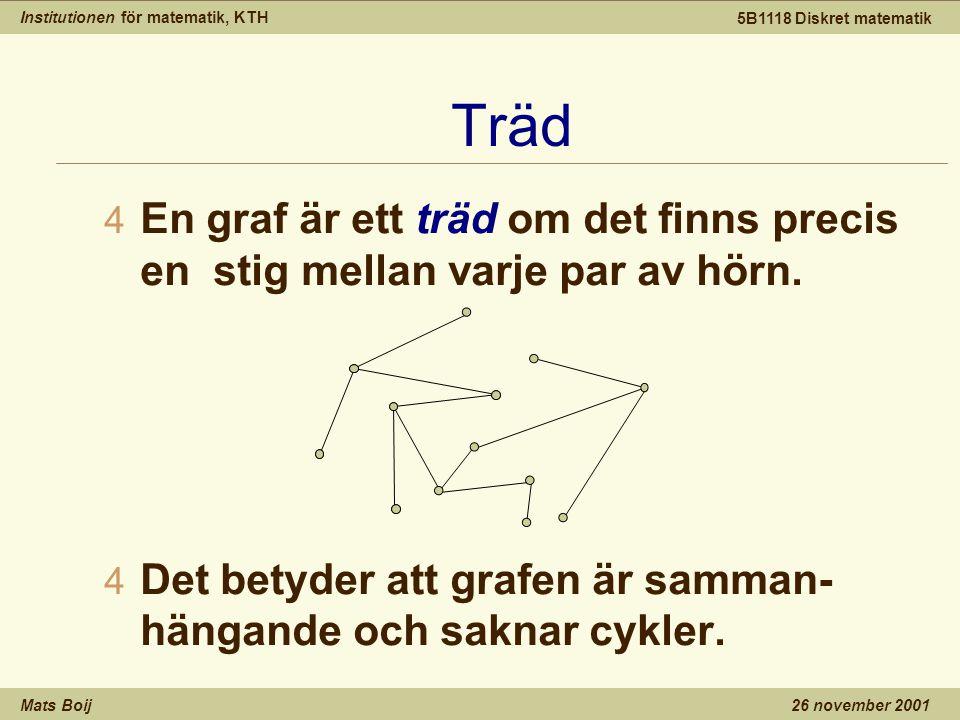Institutionen för matematik, KTH Mats Boij 5B1118 Diskret matematik 26 november 2001 Träd 4 En graf är ett träd om det finns precis en stig mellan varje par av hörn.