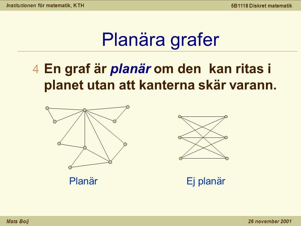 Institutionen för matematik, KTH Mats Boij 5B1118 Diskret matematik 26 november 2001 Planära grafer 4 En graf är planär om den kan ritas i planet utan att kanterna skär varann.