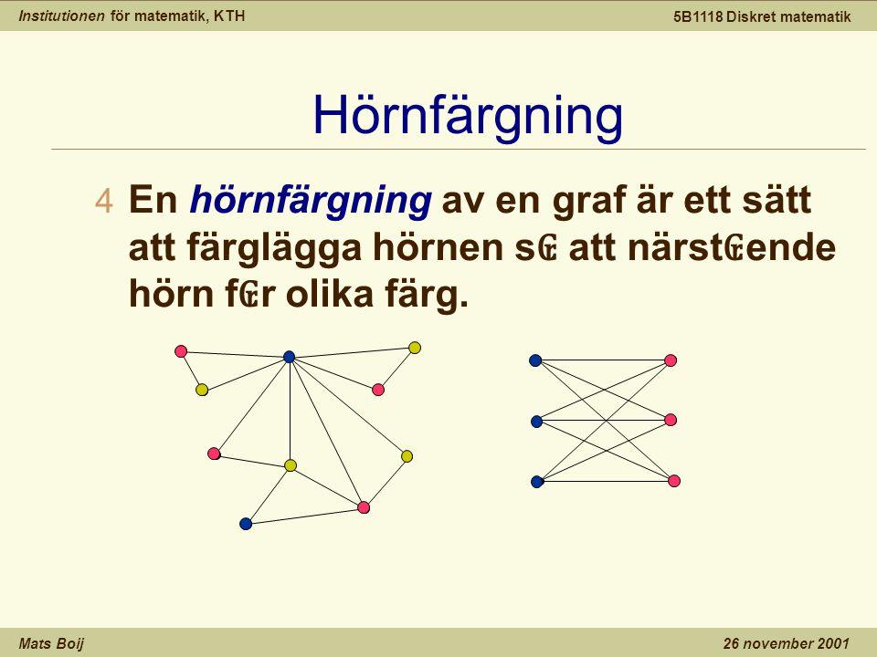 Institutionen för matematik, KTH Mats Boij 5B1118 Diskret matematik 26 november 2001 Hörnfärgning 4 En hörnfärgning av en graf är ett sätt att färglägga hörnen s ₢ att närst ₢ ende hörn f ₢ r olika färg.