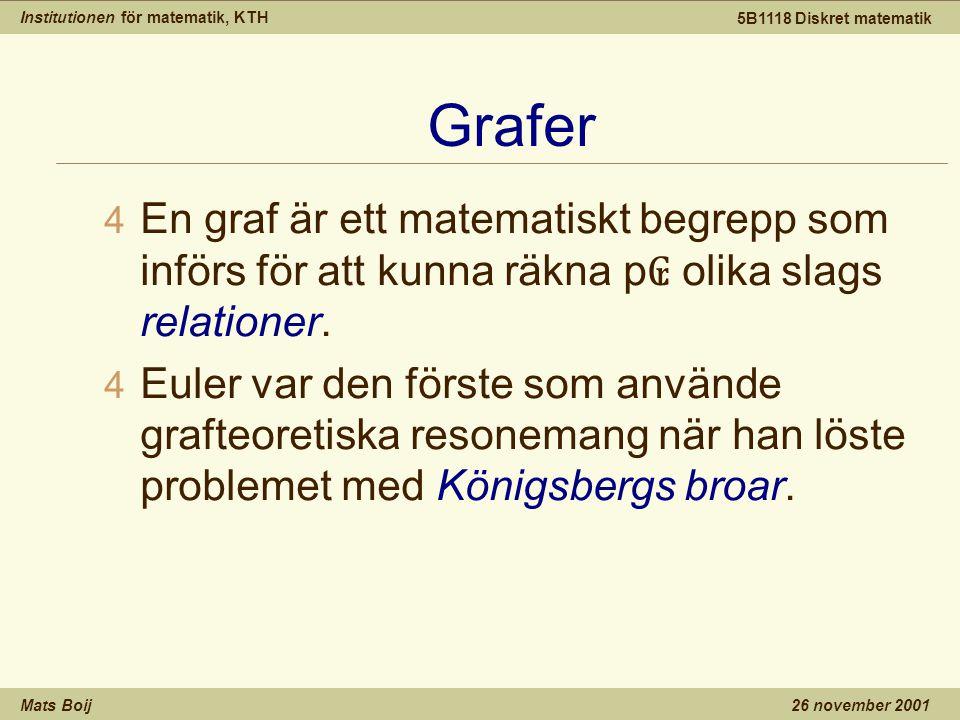Institutionen för matematik, KTH Mats Boij 5B1118 Diskret matematik 26 november 2001 Grafer 4 En graf är ett matematiskt begrepp som införs för att kunna räkna p ₢ olika slags relationer.