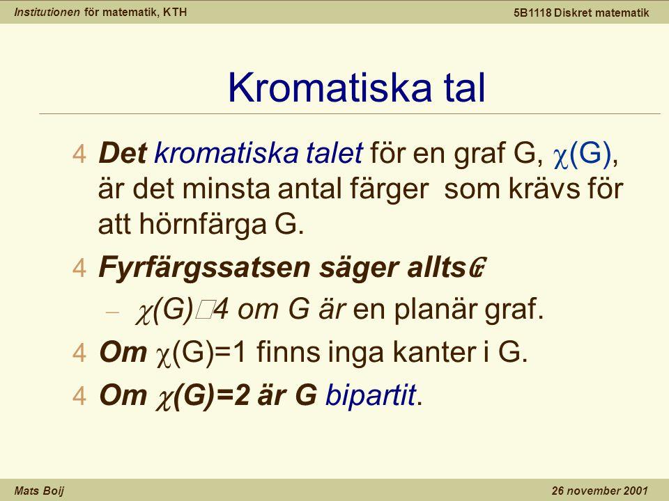 Institutionen för matematik, KTH Mats Boij 5B1118 Diskret matematik 26 november 2001 Kromatiska tal  Det kromatiska talet för en graf G,  (G), är det minsta antal färger som krävs för att hörnfärga G.