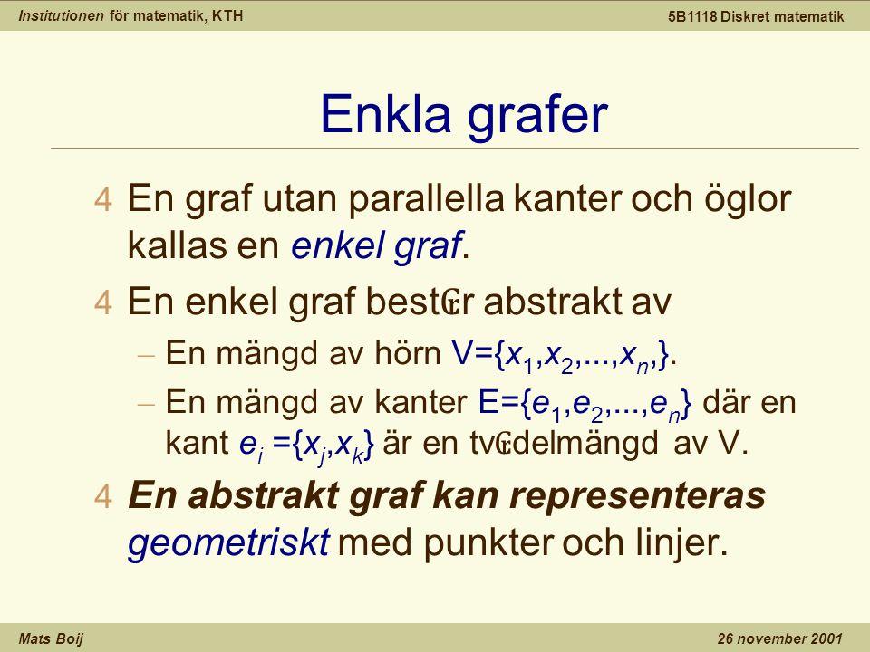 Institutionen för matematik, KTH Mats Boij 5B1118 Diskret matematik 26 november 2001 Enkla grafer 4 En graf utan parallella kanter och öglor kallas en enkel graf.