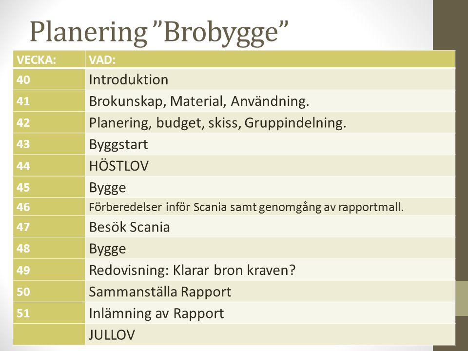 Planering Brobygge VECKA:VAD: 40 Introduktion 41 Brokunskap, Material, Användning.