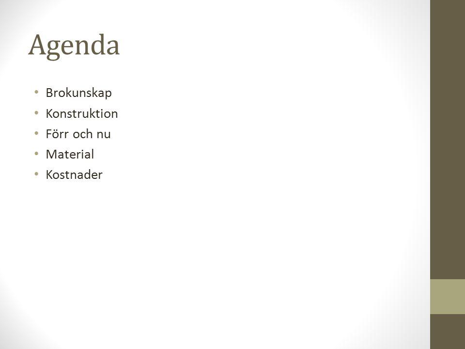 Agenda Brokunskap Konstruktion Förr och nu Material Kostnader