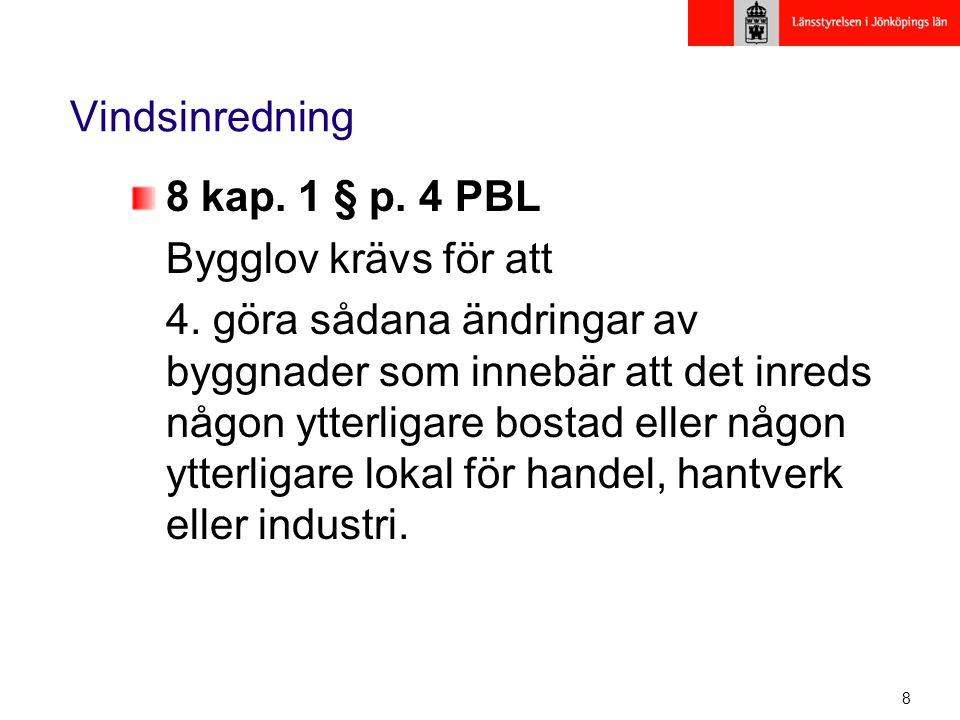 8 Vindsinredning 8 kap. 1 § p. 4 PBL Bygglov krävs för att 4. göra sådana ändringar av byggnader som innebär att det inreds någon ytterligare bostad e