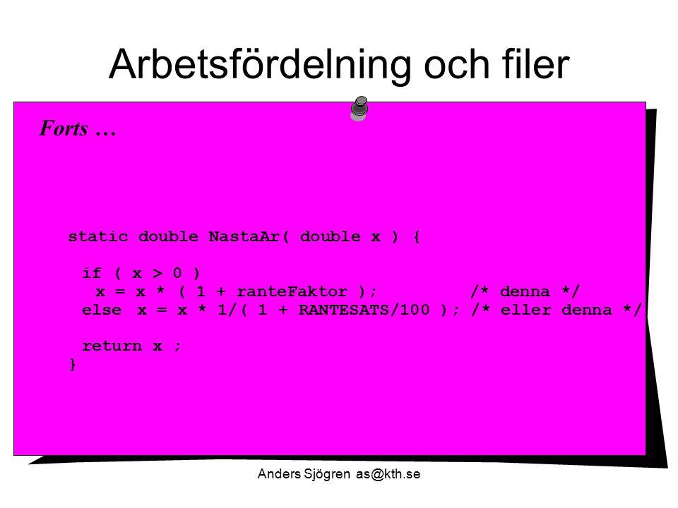 Arbetsfördelning och filer static double NastaAr( double x ) { if ( x > 0 ) x = x * ( 1 + ranteFaktor ); /* denna */ else x = x * 1/( 1 + RANTESATS/10