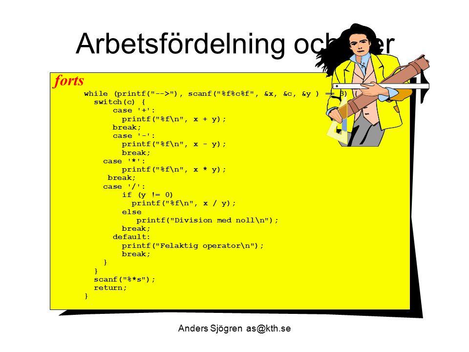 Arbetsfördelning och filer while (printf(