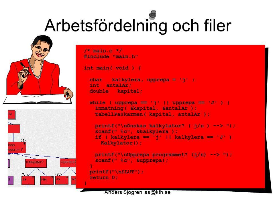 Arbetsfördelning och filer /* main.c */ #include