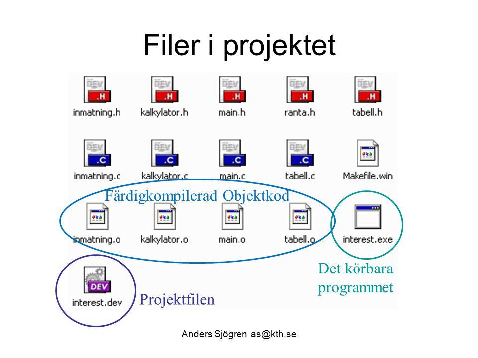 Filer i projektet Det körbara programmet Projektfilen Färdigkompilerad Objektkod Anders Sjögren as@kth.se