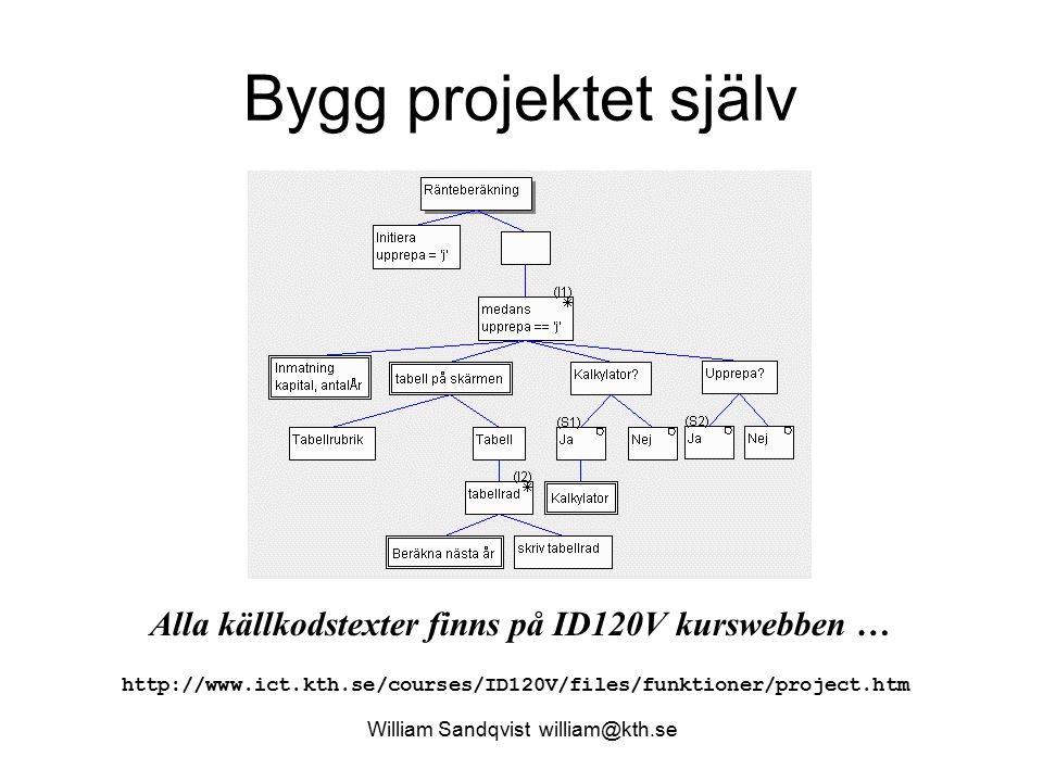 Bygg projektet själv William Sandqvist william@kth.se Alla källkodstexter finns på ID120V kurswebben … http://www.ict.kth.se/courses/ID120V/files/funk