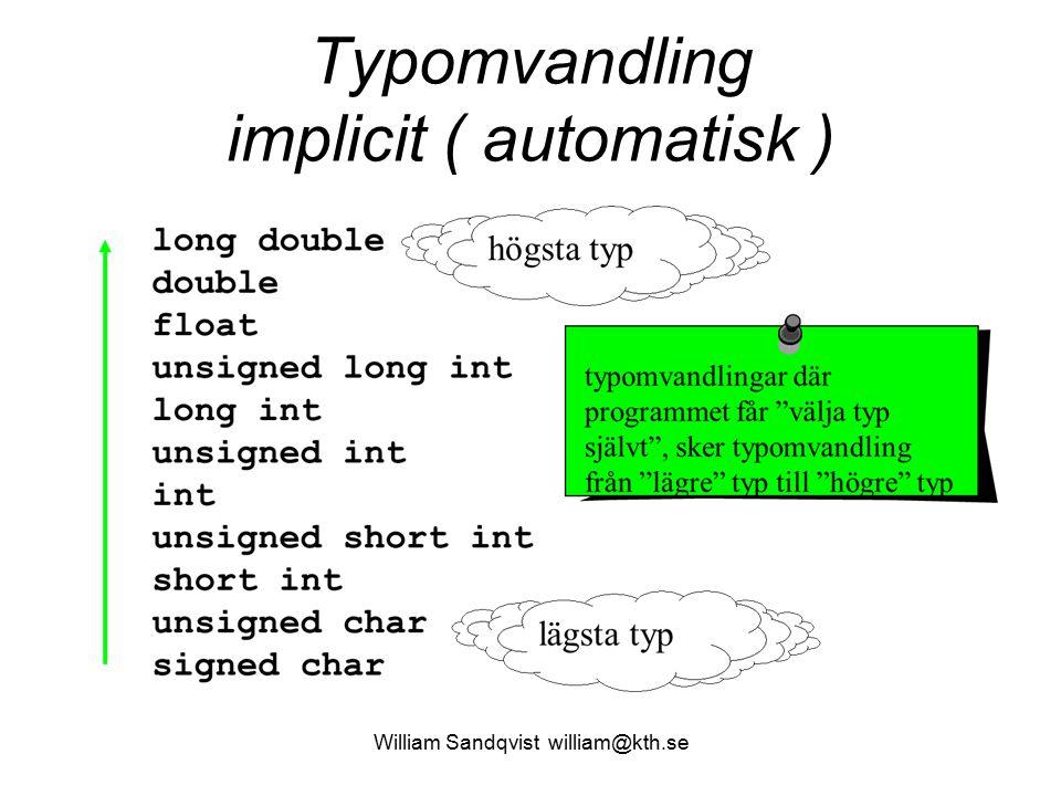 Typomvandling implicit ( automatisk ) William Sandqvist william@kth.se