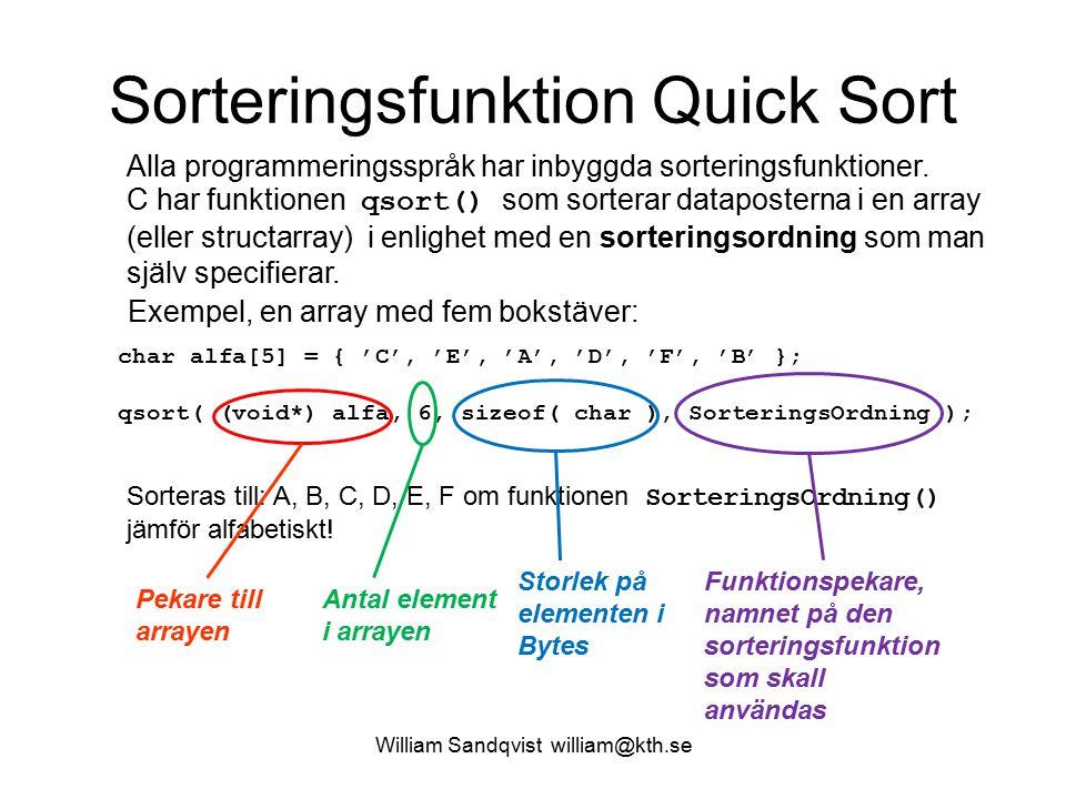 Sorteringsfunktion Quick Sort Alla programmeringsspråk har inbyggda sorteringsfunktioner. C har funktionen qsort() som sorterar dataposterna i en arra