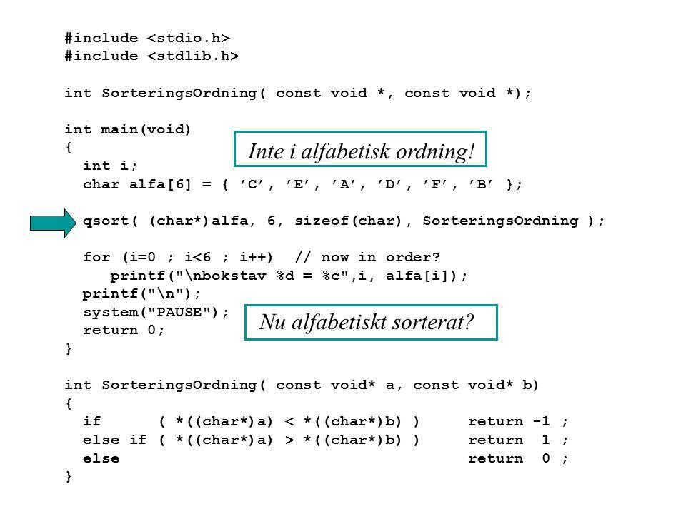 #include int SorteringsOrdning( const void *, const void *); int main(void) { int i; char alfa[6] = { 'C', 'E', 'A', 'D', 'F', 'B' }; qsort( (char*)al