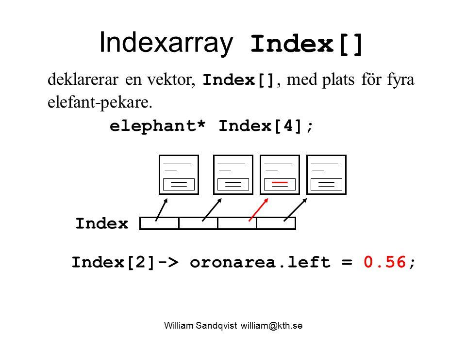 William Sandqvist william@kth.se Indexarray Index[] elephant* Index[4]; Index Index[2]-> oronarea.left = 0.56; deklarerar en vektor, Index[], med plat