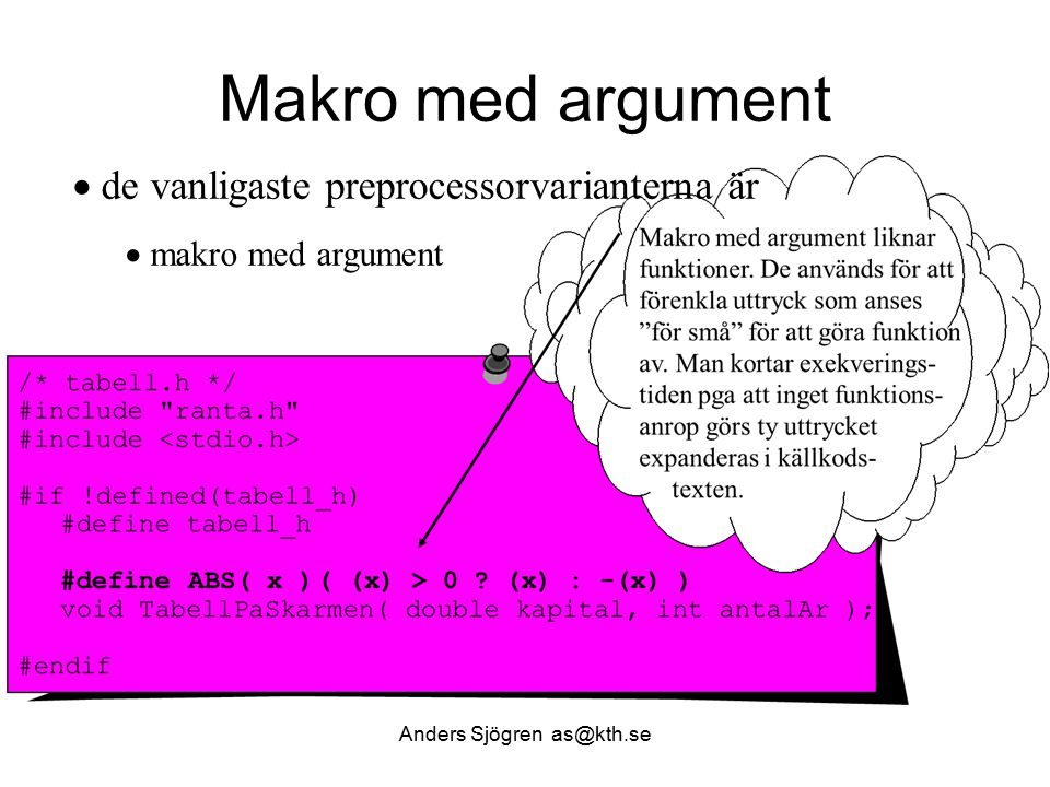 Arbetsfördelning och filer Anders Sjögren as@kth.se #include tabell.h static double NastaAr( double kapital ); void TabellPaSkarmen( double kapital, int antalAr ) { int ar ; printf( \n År Saldo\n == =====\n ); for ( ar = 1; ar <= antalAr; ar++ ) { kapital = NastaAr( kapital ); /* enheter i tabellen */ if ( -10 < kapital && kapital < 10 ) printf( %3d%11.2f kr\n , ar, ABS( kapital )); else if ( -100 < kapital && kapital < 100 ) printf( %3d%11.2f da(deka)kr\n , ar, (ABS( kapital ))/10); else if ( -1000 < kapital && kapital < 1000 ) printf( %3d%11.2f h(hekto)kr\n , ar, (ABS( kapital ))/100); else printf( %3d%11.2f kkr\n , ar, (ABS( kapital ))/1000); } return; } Forts …