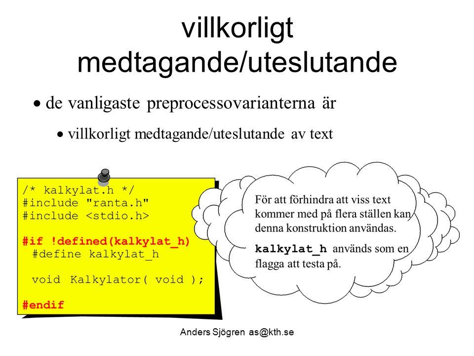 William Sandqvist william@kth.se Slumpfunktionen, problem /* random.c produces random numbers */ /* uses ANSI C portable algorithm */ int random(void) { unsigned long int next =1; /* the seed */ /* magic formula to generate pseudorandom number */ next = next * 1103515245 + 12345; return (unsigned int) (next/65536) % 32768; } Vad skulle hända om next inte deklareras som static.