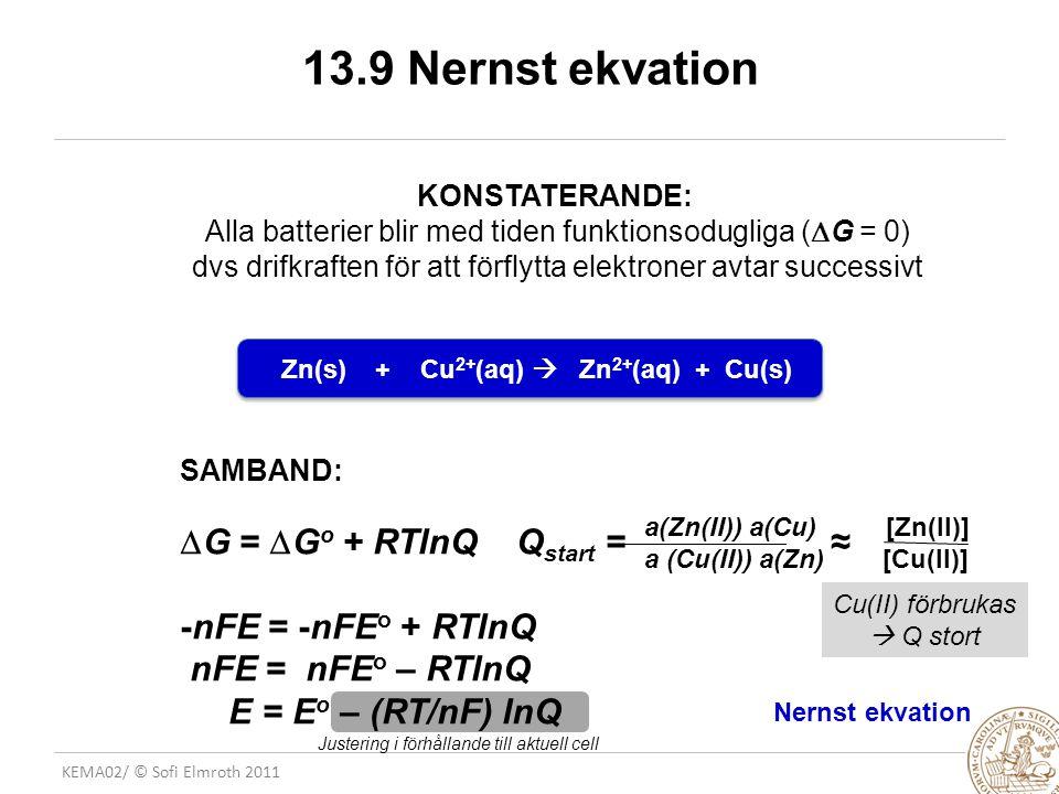 KEMA02/ © Sofi Elmroth 2011 13.9 Nernst ekvation KONSTATERANDE: Alla batterier blir med tiden funktionsodugliga (  G = 0) dvs drifkraften för att förflytta elektroner avtar successivt Zn(s) + Cu 2+ (aq)  Zn 2+ (aq) + Cu(s) a(Zn(II)) a(Cu) [Zn(II)] a (Cu(II)) a(Zn) [Cu(II)] Nernst ekvation Cu(II) förbrukas  Q stort SAMBAND:  G =  G o + RTlnQ Q start = ≈ -nFE = -nFE o + RTlnQ nFE = nFE o – RTlnQ E = E o – (RT/nF) lnQ Justering i förhållande till aktuell cell