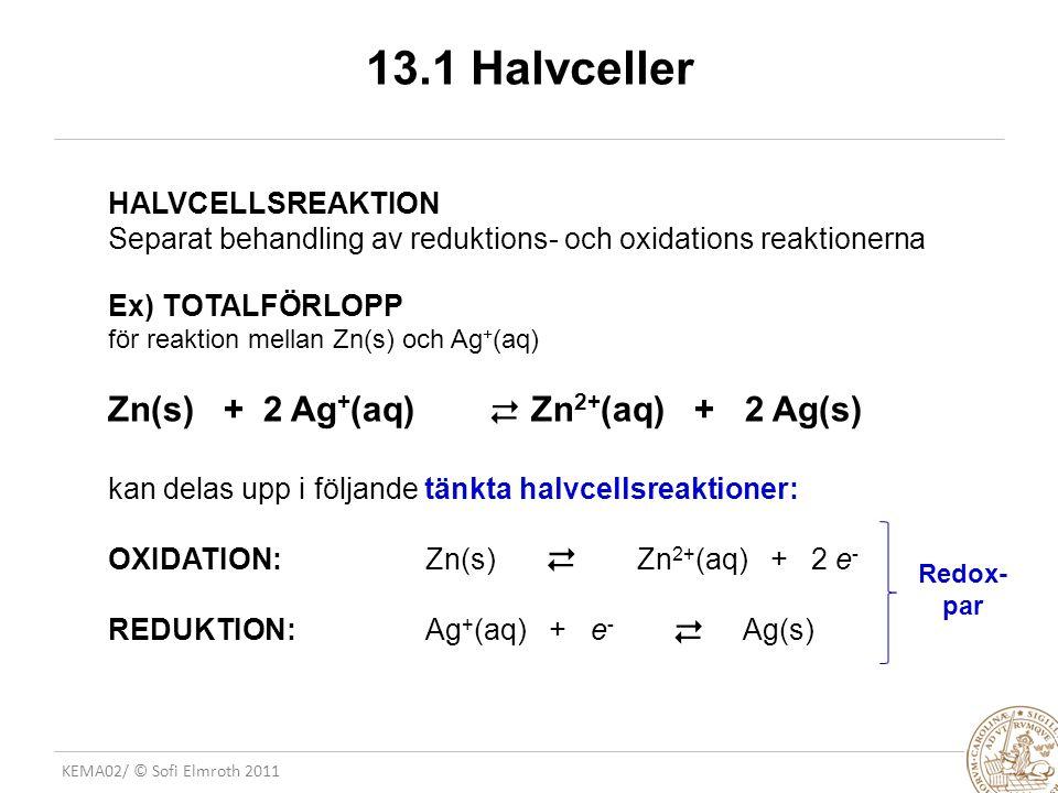 KEMA02/ © Sofi Elmroth 2011 13.1 Halvceller HALVCELLSREAKTION Separat behandling av reduktions- och oxidations reaktionerna Ex) TOTALFÖRLOPP för reaktion mellan Zn(s) och Ag + (aq) Zn(s) + 2 Ag + (aq)Zn 2+ (aq) + 2 Ag(s) kan delas upp i följande tänkta halvcellsreaktioner: OXIDATION: Zn(s)Zn 2+ (aq) + 2 e - REDUKTION: Ag + (aq) + e - Ag(s)       Redox- par