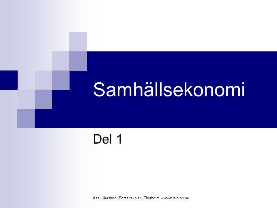 Samhällsekonomi Del 1 Åsa Lillerskog, Forsenskolan, Tidaholm – www.lektion.se