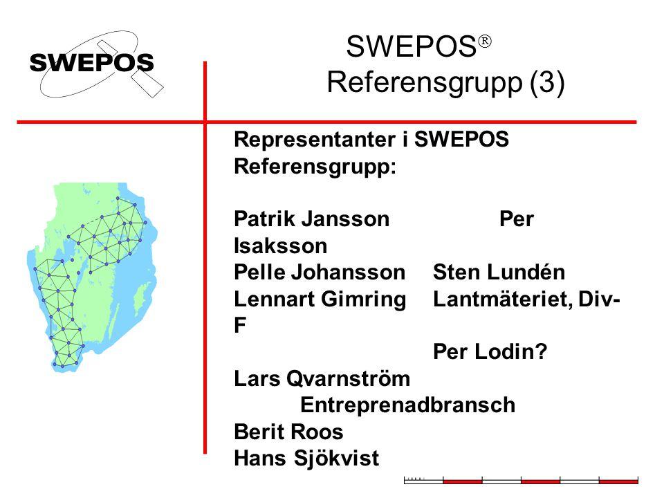 SWEPOS  Referensgrupp (3) Representanter i SWEPOS Referensgrupp: Patrik JanssonPer Isaksson Pelle JohanssonSten Lundén Lennart GimringLantmäteriet, Div- F Per Lodin.