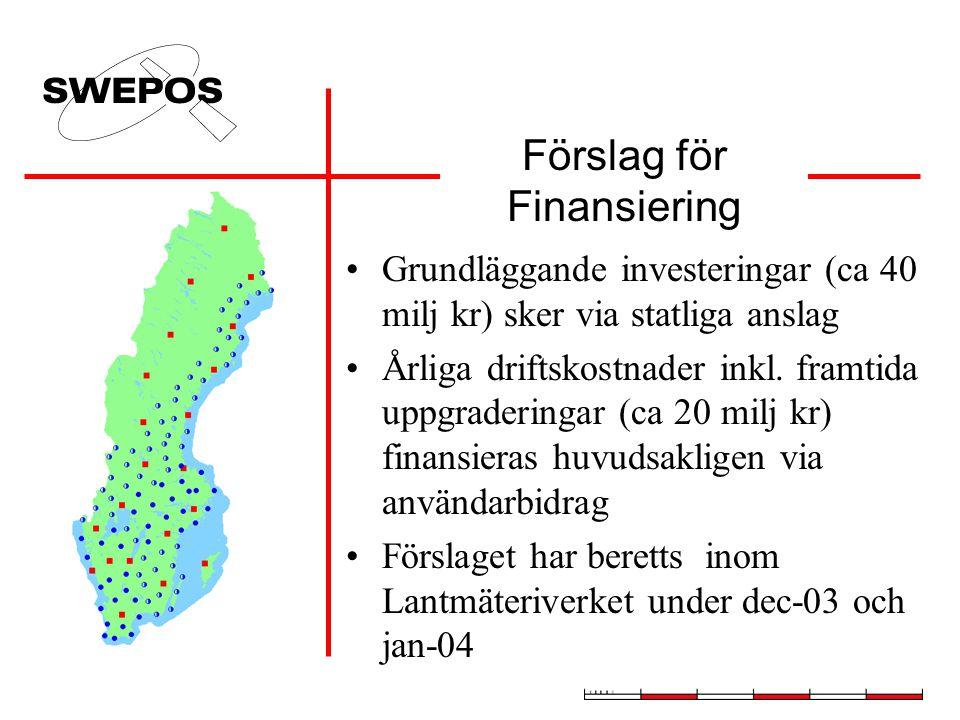 Förslag för Finansiering Grundläggande investeringar (ca 40 milj kr) sker via statliga anslag Årliga driftskostnader inkl.
